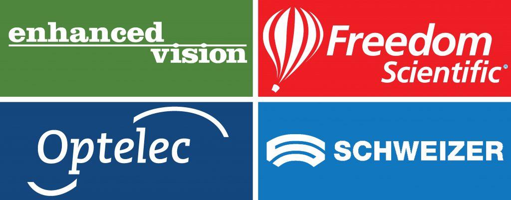 Logos: Optelec, Enhanced Vision, Freedom Scientific, Schweizer, OrCam